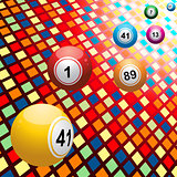 Bingo balls on coloured 3D mosaic background