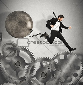 Businessman career with impediment