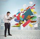 Businessman analyzes the market