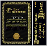 Black and gold certificate. Template. Vertical.