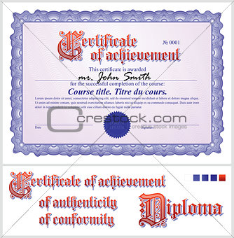 Blue certificate. Template. Horizontal.