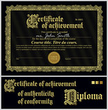 Black and gold certificate. Template. Horizontal.