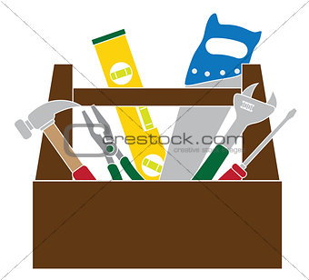 Toolbox with Construction Tools Color Illustration
