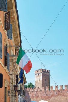 Castelvecchio and Italian flag
