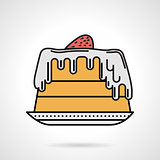 Strawberry pie flat color vector icon