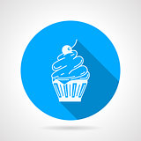Contour vector icon for cupcake with cream