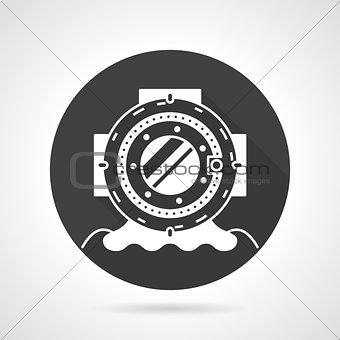 Old dive helmet black round vector icon