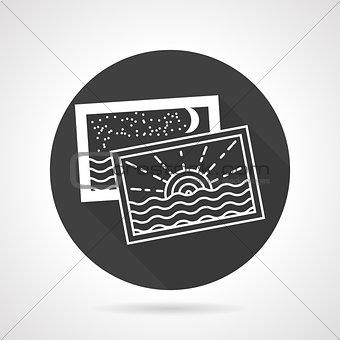 Tourism black round vector icon