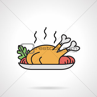 Poultry dish flat color vector icon
