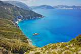amazing panorama of coast and blue waters of Kefalonia