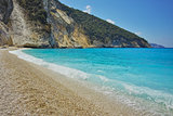 Blue water of beautiful Myrtos beach