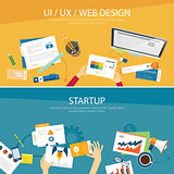 web design and startup concept flat design