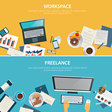 workspace and freelance banner flat design template