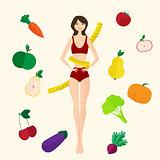 Slim girl, fresh fruits and vegetables. Proper lifestyle