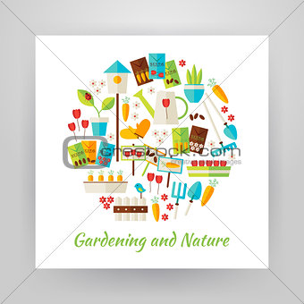 Flat Style Circle Vector Set of Nature Gardening and Environment