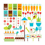 Flat Style Vector Collection of Nature Gardening and Environment