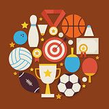 Sport Recreation and Competion Vector Flat Design Circle Shaped