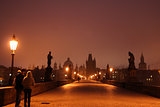 Dawn on Charles Bridge in Prague