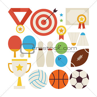 Flat Style Vector Collection of Sport Recreation and Competition