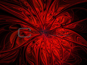 Abstract fractal red  flower