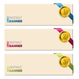 Banners with gold pendent and ribbons