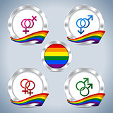 Metallic badges with gay pride ribbon and symbols