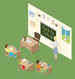 Vector 3d Flat Isometric With Education Concept