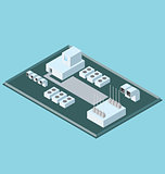 Vector 3d Flat Isometric Roof With Conditioners