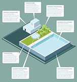 Vector 3d Flat Isometric Roof With Water Pool