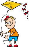 boy with kite cartoon illustration