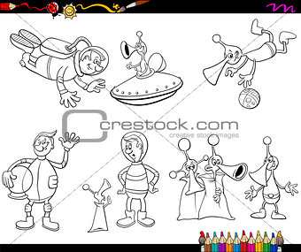 aliens cartoon coloring page