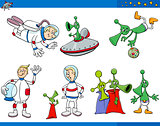 alien cartoon characters set