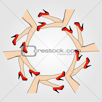 Frame or design element with legs of women wearing heels