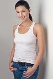 Pretty Woman in Casual Clothing Smiles at Camera