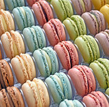 row of French macaroons