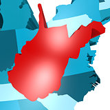 West Virginia map on blue USA map