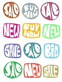 sale slogan button collection in multiple color over white