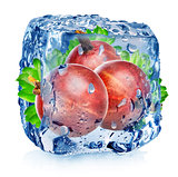 Red gooseberry in ice cube