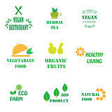 Set of logos for organic and natural food