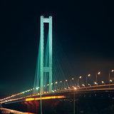 Southern bridge at night. Kyiv, Ukraine.