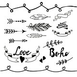 Collection of boho doodle design elements. Vector illustration.