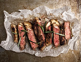 rustic cut juicy barbecue grilled steak