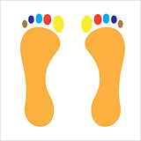 Stop footprint of man colored fingers
