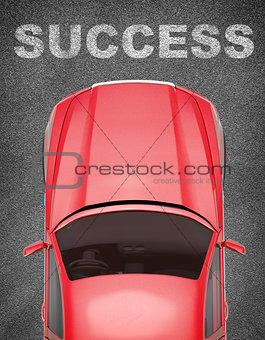 Car on grey texture background with word