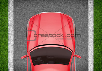 Car on grey and green texture background