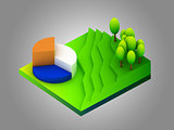 landscape concept isometric infographic,showing data analytics