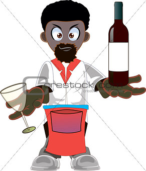 Cartoon  african american waiter