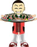 Cartoon asian waiter
