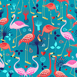 beautiful pattern lovers flamingos