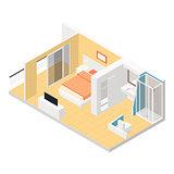 Hotel room isometric detailed set